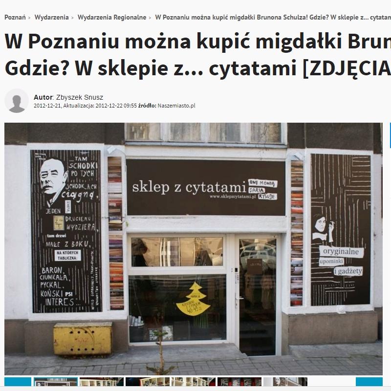W Poznaniu można kupić migdałki Brunona Schulza! Gdzie? W sklepie z cytatami
